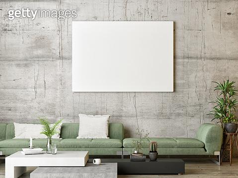 Mock up poster, green Scandinavian living room