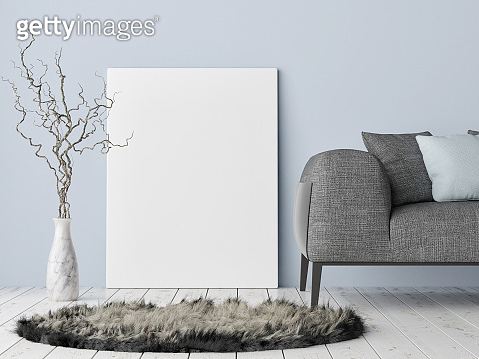 Mock up poster on hipster background, blue wall, decoration and sofa