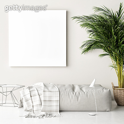Mock up poster, sofa, palm tree, hipster background