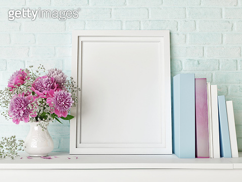Mock up poster, hipster background, flowers and books