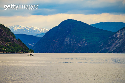 Fjord landscape with ship, Norway