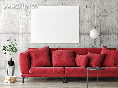 Mock up poster on gray wall, red modern furniture, minimal design
