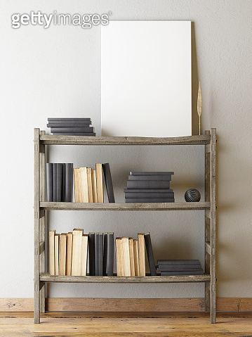 Poster on gray wall, retro book shelf wit books