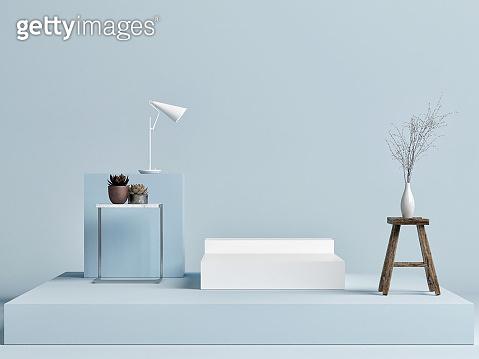 Mock up podium studio with decoration