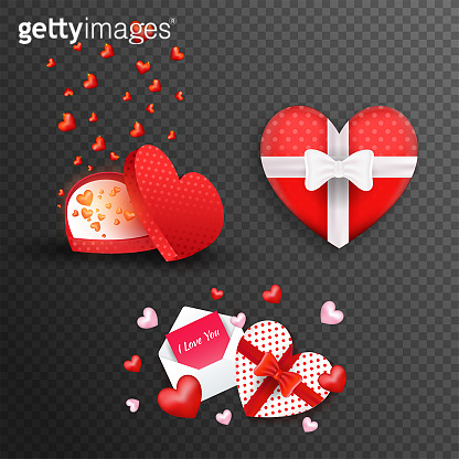 Heart shape gift boxes and greeting card on black png background for valentine's Day celebration concept.