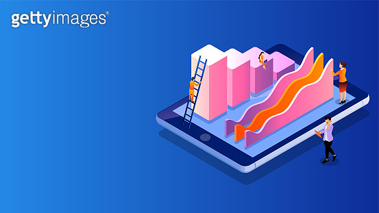 Isometric illustration of miniature people maintain growth infographic or analysis data on smartphone screen for Company growth and success.