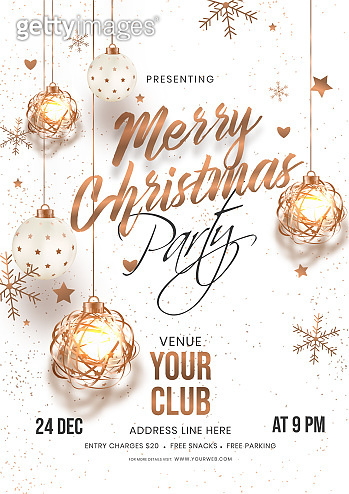 Merry Christmas Party invitation card design with hanging baubles, stars and snowflakes decorated on white background with venue details.