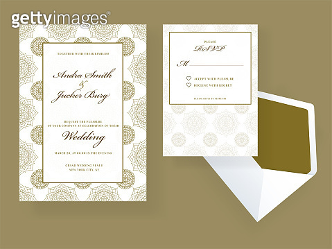 Wedding invitation and rsvp card design with envelope on green background.