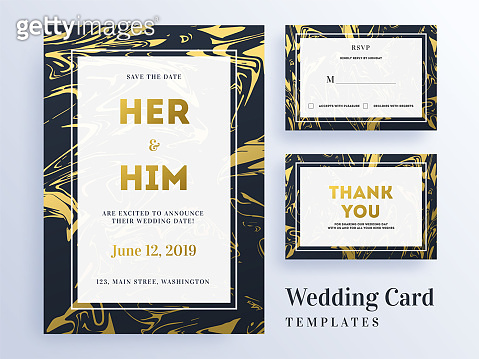 Wedding invitation, rsvp and thank you card layout for save the date concept.