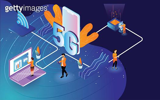 Isometric illustration of modern 5G technology vector concept  for web design. 3D Modern 5G technology concept banner.
