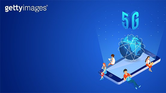 5G mobile internet network service concept, 3d illustration of smartphone with global globe and user using new internet data device.