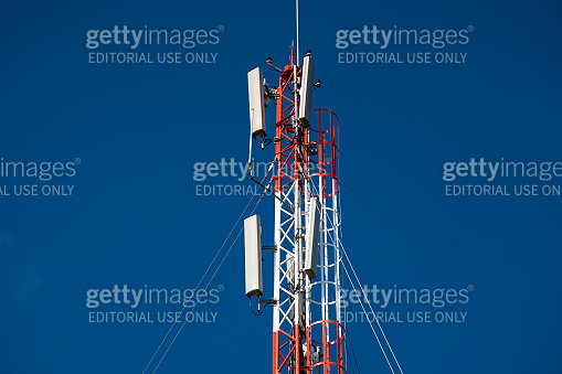Telecommunications equipment. directional mobile phone antenna dishes. Wireless communication.