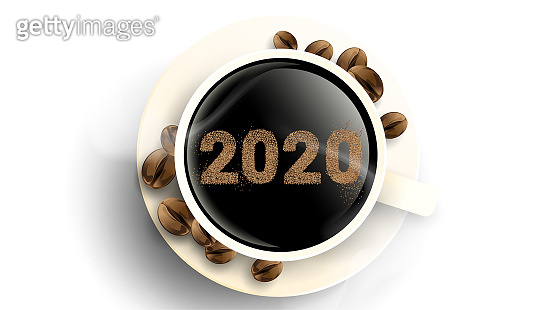 2020 coffee beans text number design. Cup of hot coffee with powder. Simple concept. - Vector