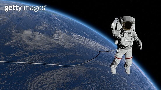 Astronaut Spacewalk, waving his hand in the open space. Elements of this image furnished by NASA. 3D rendering