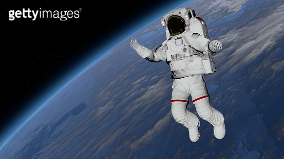 Astronaut Spacewalk, Astronaut in the open space. Elements of this image furnished by NASA. 3D rendering