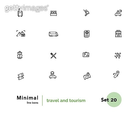 Travel and tourism vector linear icons set