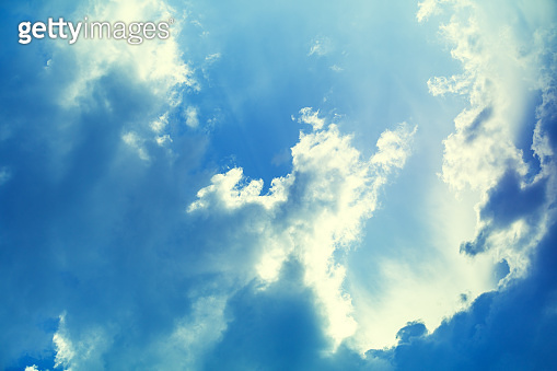 Nature background, blue sky with beautiful clouds.