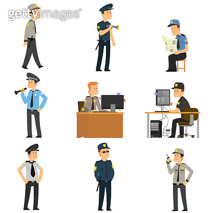 set of guards in different poses.