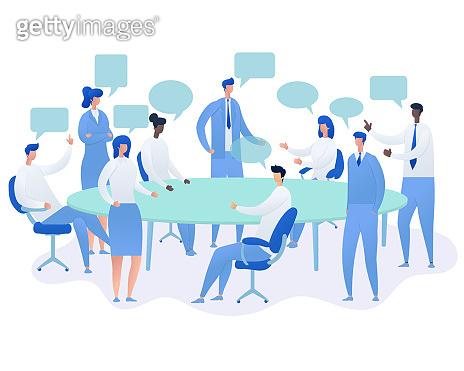 Business People Having Board Meeting,Vector illustration cartoon character.