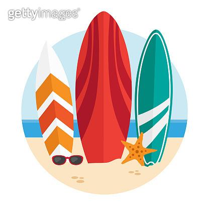 Surfboards on a beach