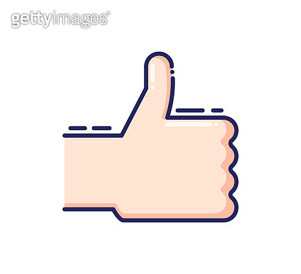 Cheerful thumbs up. Approval, certified vector trendy flat outline icon illustration design