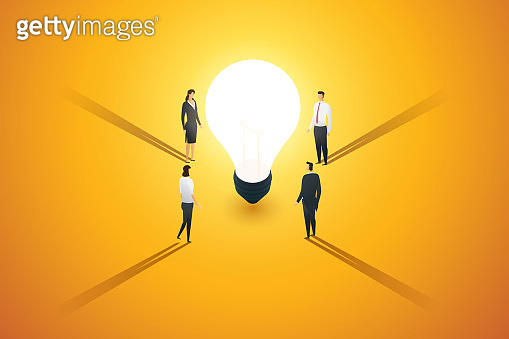 A group of business people stand look and a brainstorm, inspiration, idea creativity thinking around light bulb. illustration vector