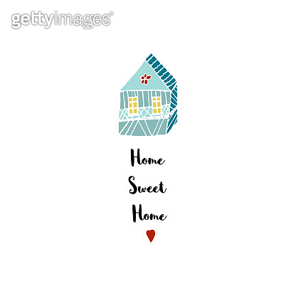 Home sweet hand drawn calligraphic cute illustration quote for home decor