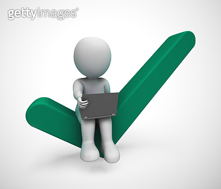 Check mark concept icon and businessman means approval - 3d illustration