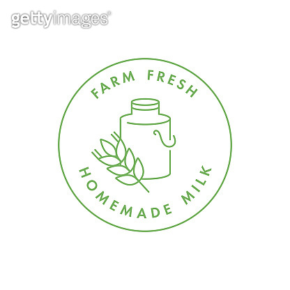 Vector logo, badge or icon for natural farm and healthy products. Symbol of farm fresh and homemade milk.