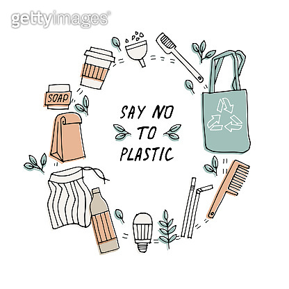 Vector illustration zero waste, recycle, eco friendly tools, collection of ecology icons with slogans. Concept with bundle vector label.