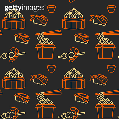 Vector pattern design template asian food - noodles, dim sum, soup, sushi. Linear icon.