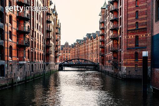 The Warehouse District or Speicherstadt in Hamburg. Wandrahmsfleet canal