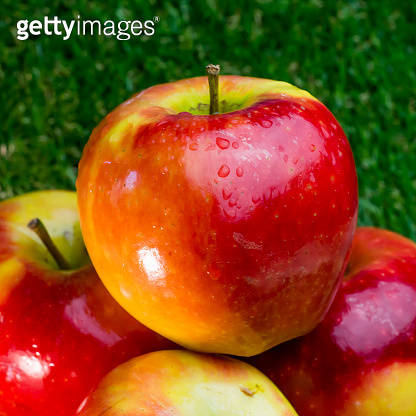 Apples on green grass and with blue sky background