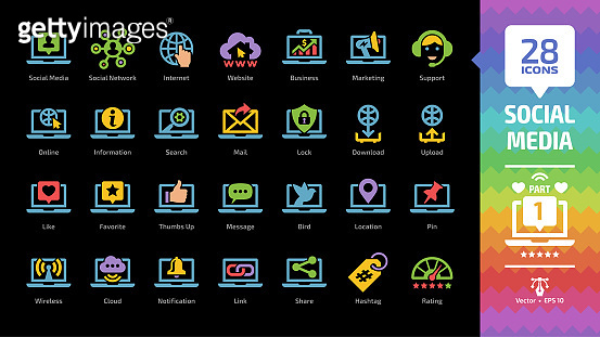 Social media network color glyph icon set part 1 on a black background with global internet website, digital business and marketing technology, message, share and like silhouette sign.