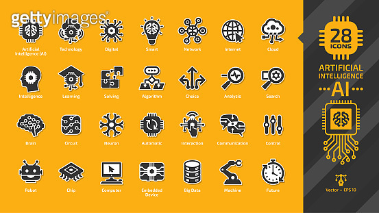Artificial intelligence AI icon set on a yellow background with machine learning, smart robotics, computer network digital technology: intelligent tech, brain circuit chip, cloud computing glyph sign.