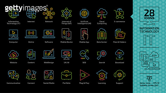 Information technology color editable stroke outline icon set on a black background with IT network communication computer tech system, internet of things, e-commerce, website and more info symbols.