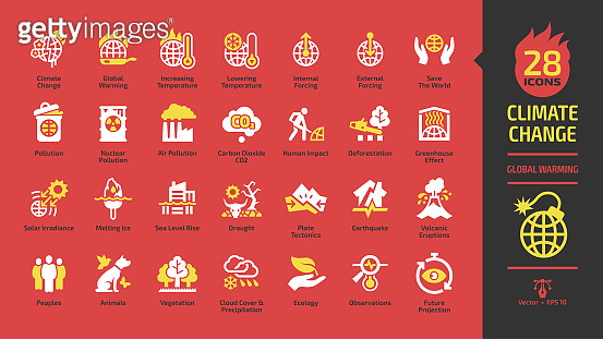 Climate change or global warming white and yellow glyph icon set on a red background with world heat temperature, globe greenhouse effect, air pollution, earth co2 problem and environment save sign.