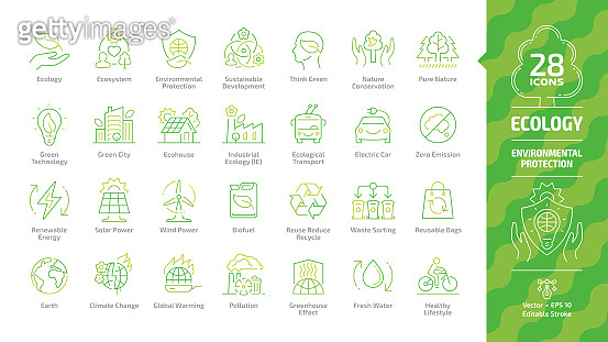 Ecology outline color icon set with eco city, green technology, renewable energy, environmental protection, sustainable development, climate change and global warming editable stroke line symbols.