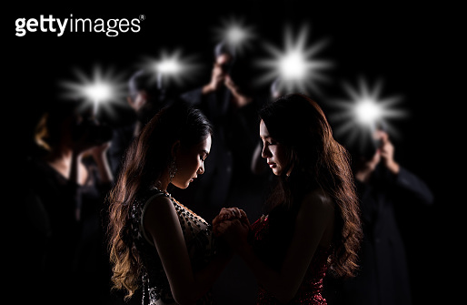 Silhouette of Miss Beauty Contest surround with Light