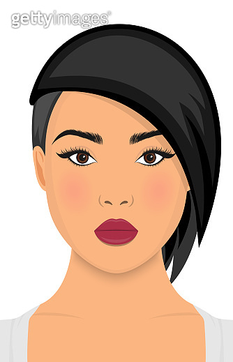 women short hair style icon, logo women face on white background. Vector