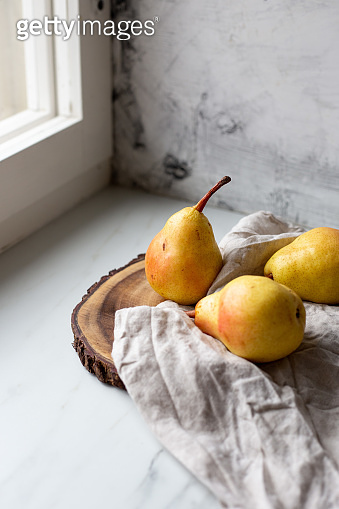 Pears Still life on marble background