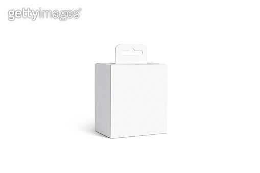 Blank white accessory box with hanger mockup, isolated