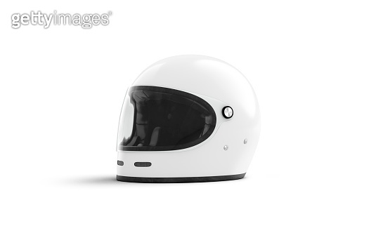 Blank white motorcycle helmet with glass mockup isolated