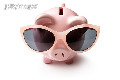 Money: Piggy Bank with Sunglasses Isolated on White Background