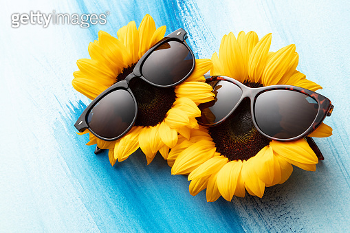 Flowers: Sunflowers with Sunglasses Still Life