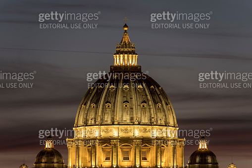 St. Peter's Basilica at sunset, Rome Italy