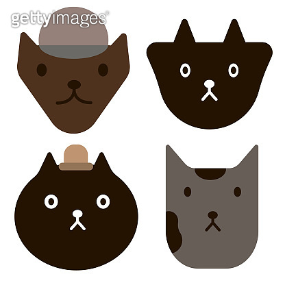 cat faces simple art geometric illustration