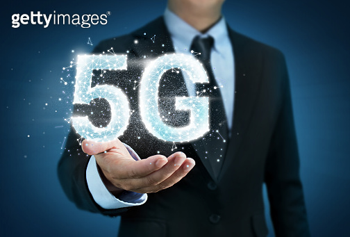 Business man holding 5G wifi technology concept