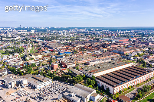aerial panoramic photo of urban industrial district