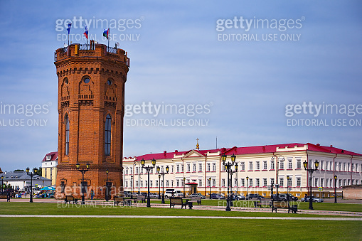 brick tower in the city of Tobolsk in Russia